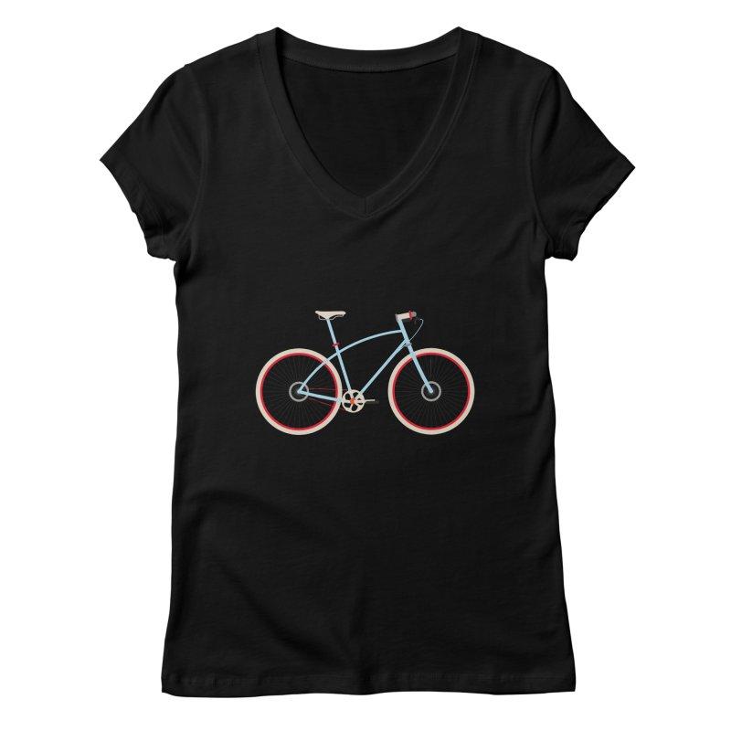 Fixie Bike Women's V-Neck by libedlulo