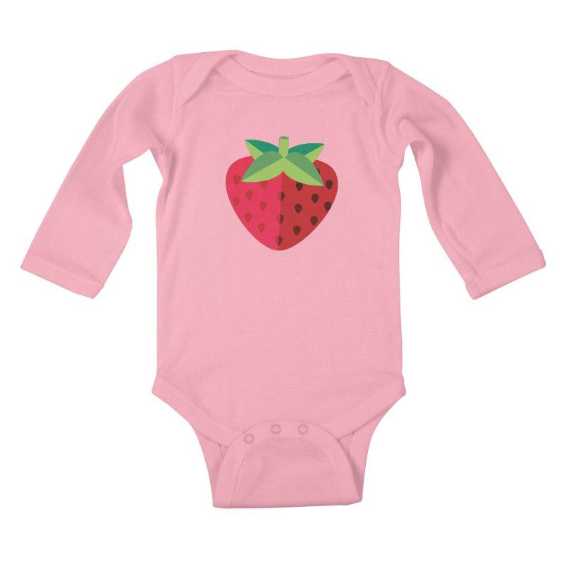 Summer Strawberry Kids Baby Longsleeve Bodysuit by libedlulo