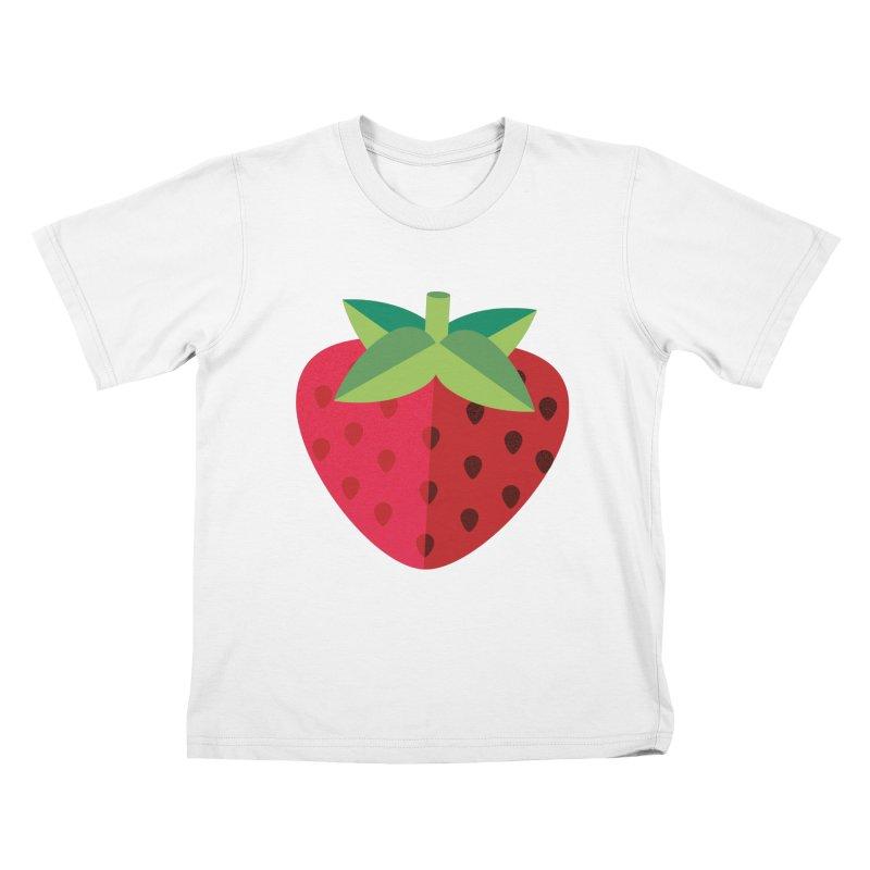 Summer Strawberry Kids T-Shirt by libedlulo