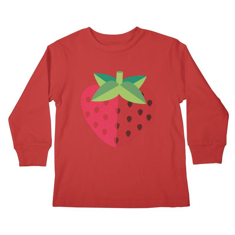 Summer Strawberry Kids Longsleeve T-Shirt by libedlulo