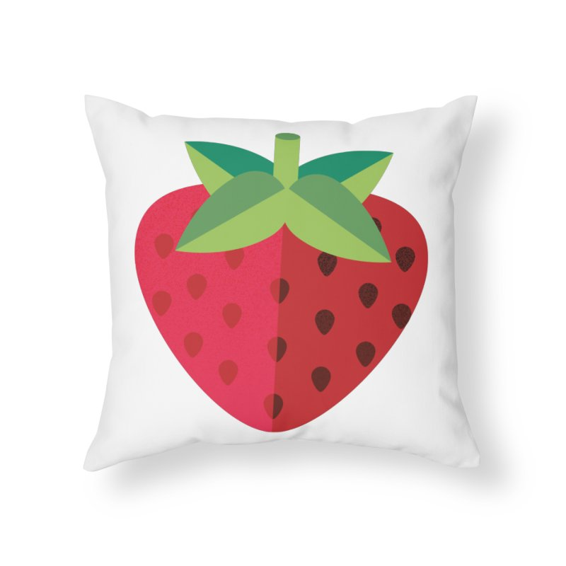 Summer Strawberry Home Throw Pillow by libedlulo