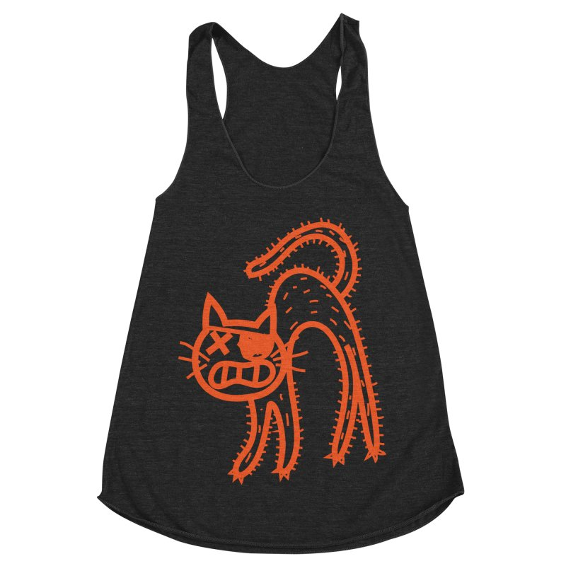Pirate Cat Women's Racerback Triblend Tank by libedlulo