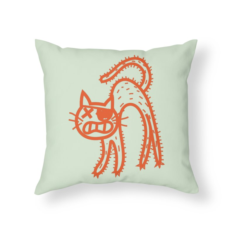 Pirate Cat Home Throw Pillow by libedlulo