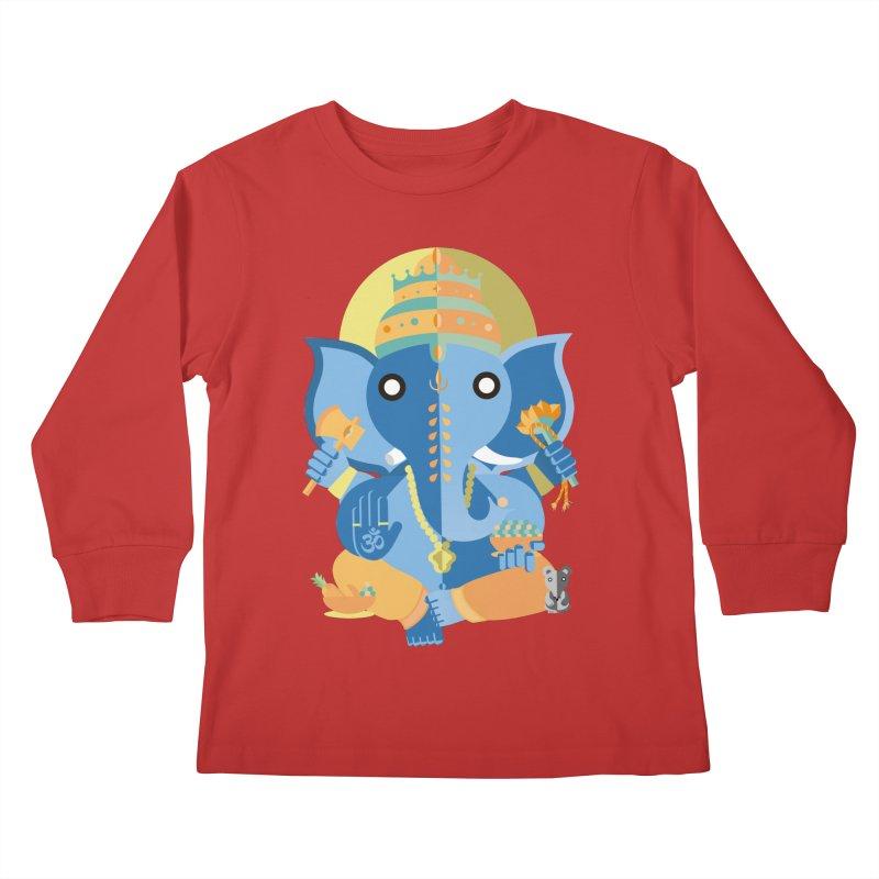 Ganesha Kids Longsleeve T-Shirt by libedlulo