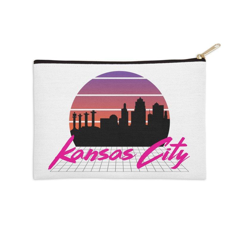 Kansas City Vaporwave Accessories Zip Pouch by The Pitch Kansas City Gear Shop