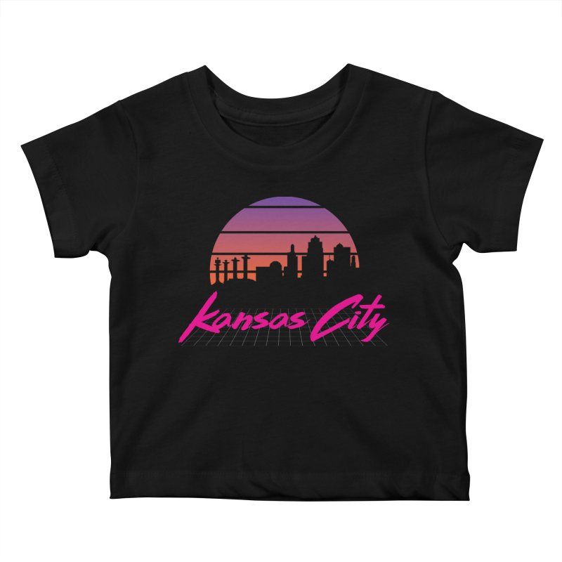 Kansas City Vaporwave Kids Baby T-Shirt by The Pitch Kansas City Gear Shop