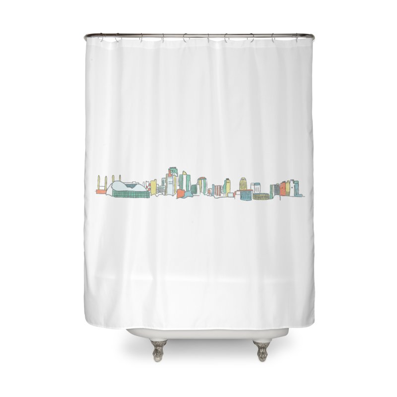 KC Sketchline Home Shower Curtain by The Pitch Kansas City Gear Shop
