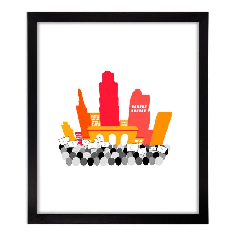 KC Union Station rally skyline Home Framed Fine Art Print by The Pitch Kansas City Gear Shop