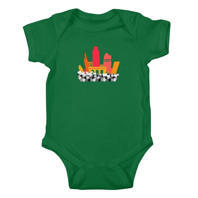KC Union Station rally skyline Kids Baby Bodysuit by The Pitch Kansas City Gear Shop