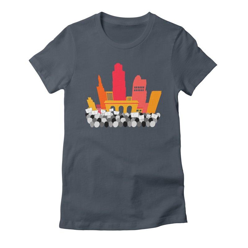 KC Union Station rally skyline Women's T-Shirt by The Pitch Kansas City Gear Shop