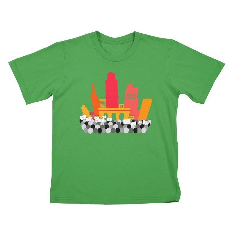 KC Union Station rally skyline Kids T-Shirt by The Pitch Kansas City Gear Shop