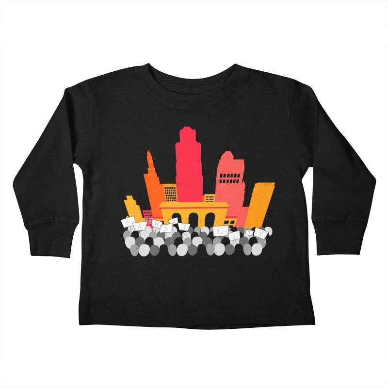 KC Union Station rally skyline Kids Toddler Longsleeve T-Shirt by The Pitch Kansas City Gear Shop