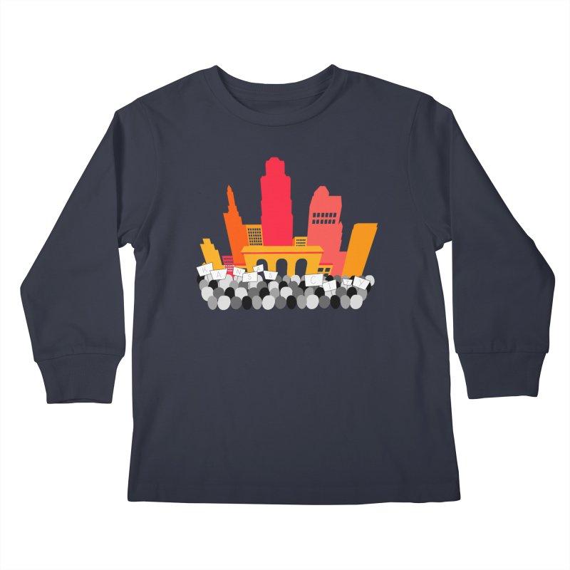 KC Union Station rally skyline Kids Longsleeve T-Shirt by The Pitch Kansas City Gear Shop