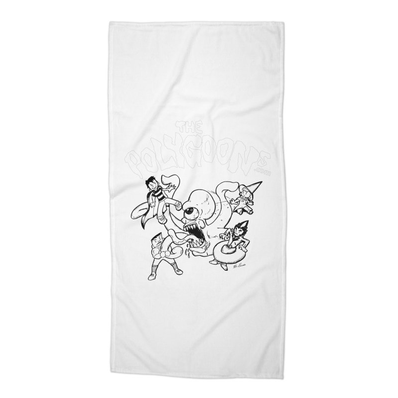 Polygoonsvs Mutoid (white letters) Accessories Beach Towel by The Polygoons' Shop