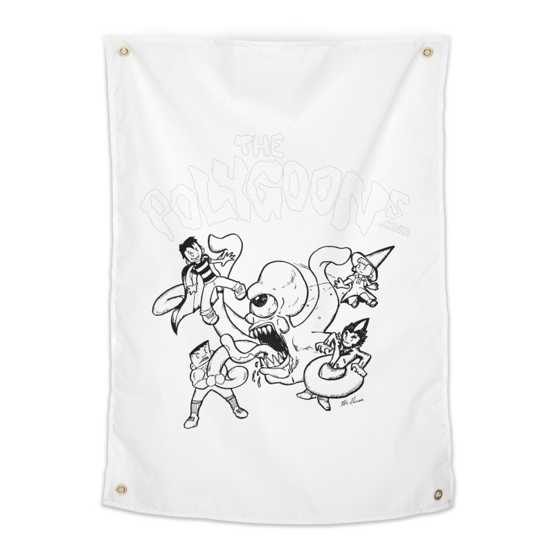 Polygoonsvs Mutoid (white letters) Home Tapestry by The Polygoons' Shop
