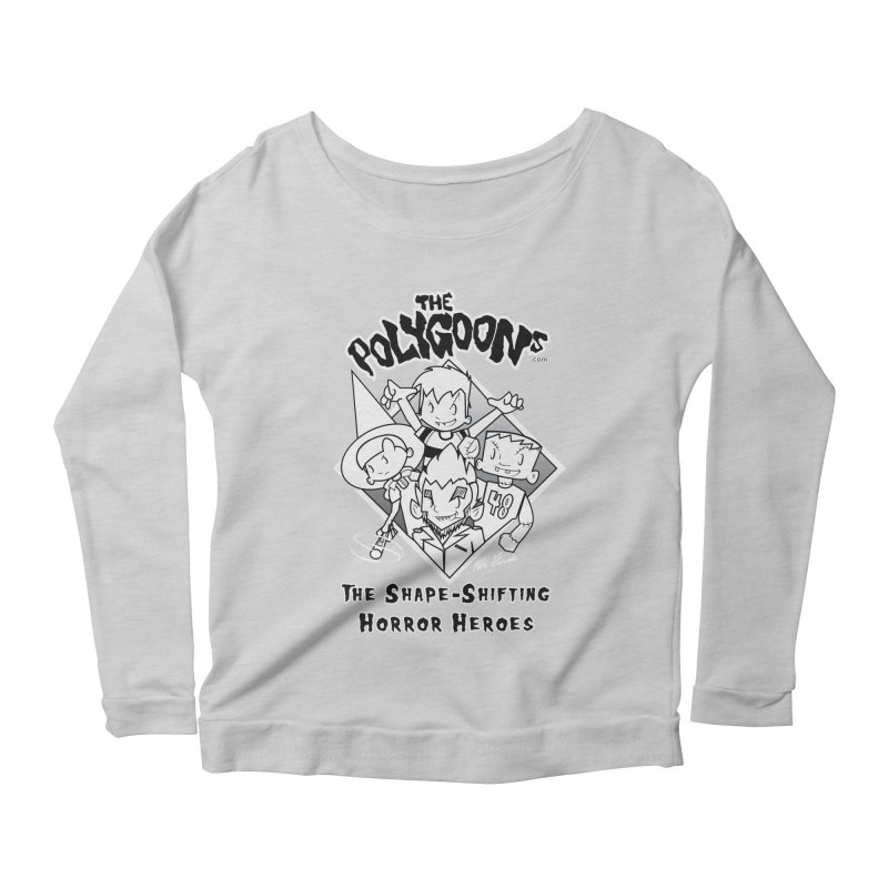Polygoons Group - black outline Women's Scoop Neck Longsleeve T-Shirt by The Polygoons' Shop