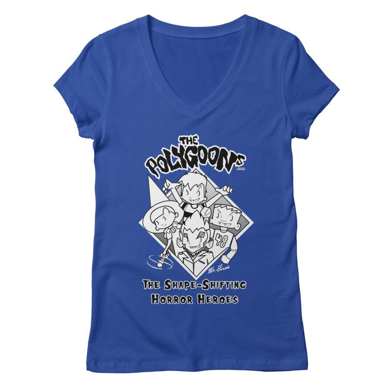 Polygoons Group - black outline Women's Regular V-Neck by The Polygoons' Shop