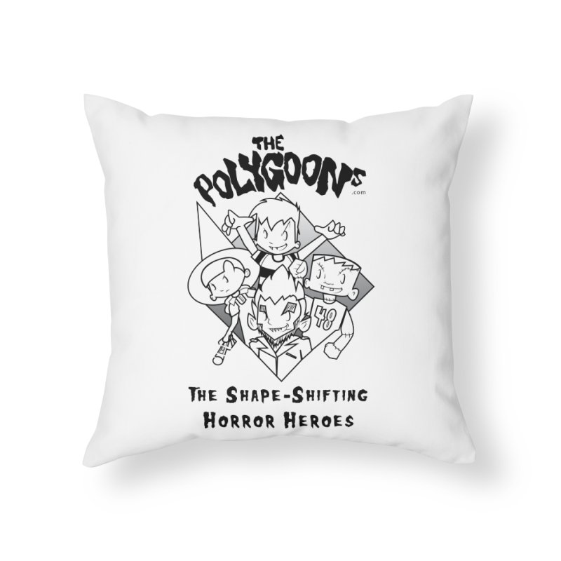 Polygoons Group - black outline Home Throw Pillow by The Polygoons' Shop