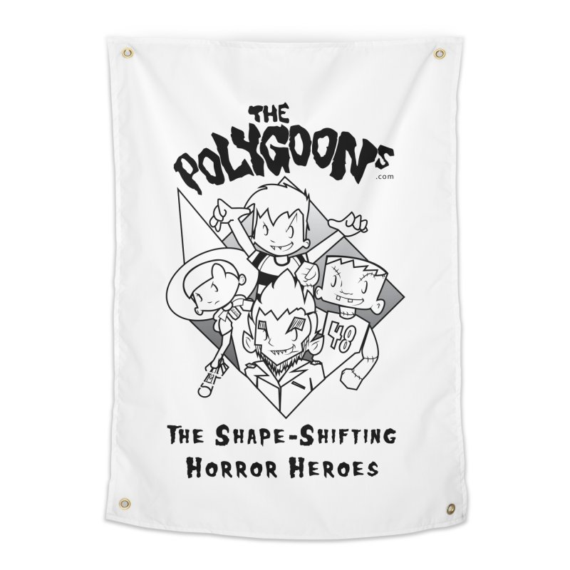 Polygoons Group - black outline Home Tapestry by The Polygoons' Shop