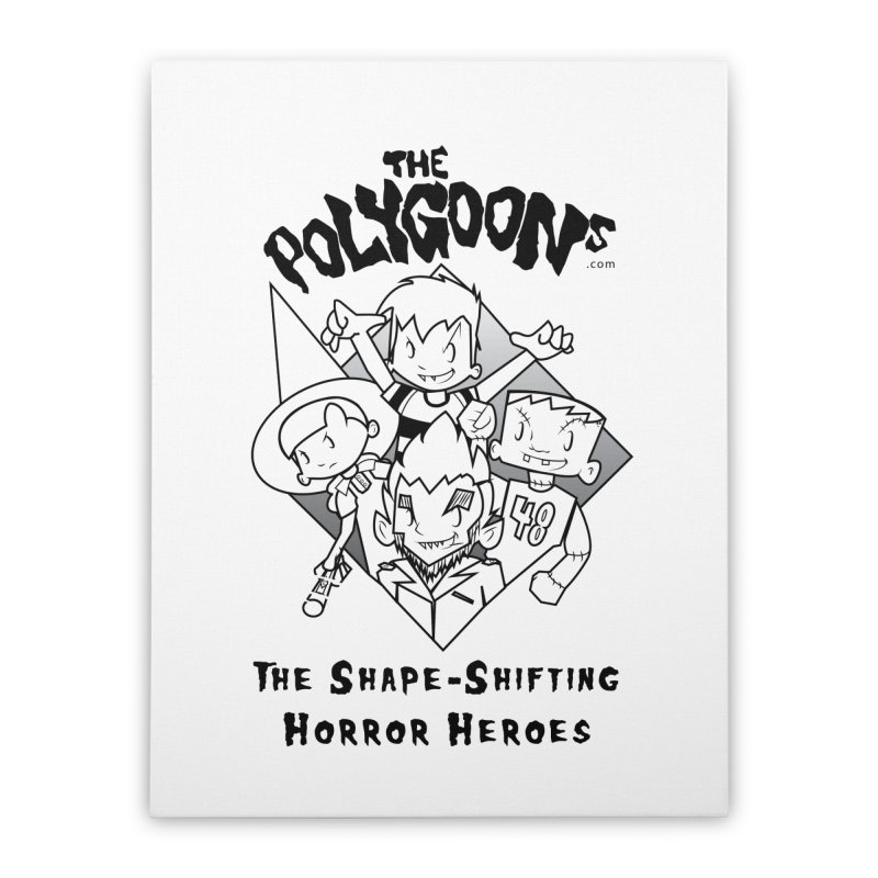 Polygoons Group - black outline Home Stretched Canvas by The Polygoons' Shop