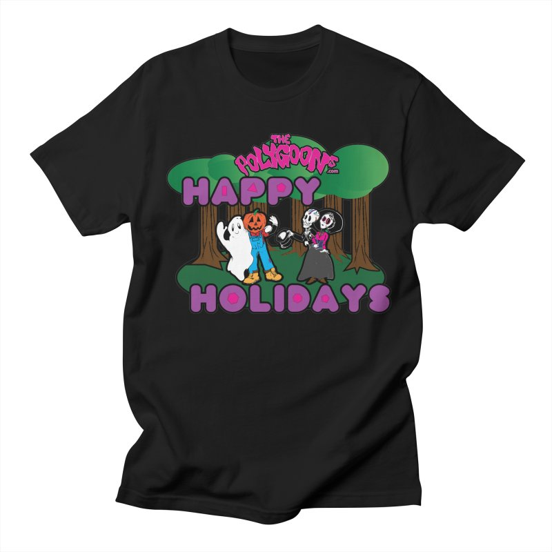 Happy Holidays in Women's Unisex T-Shirt Black by The Polygoons' Shop