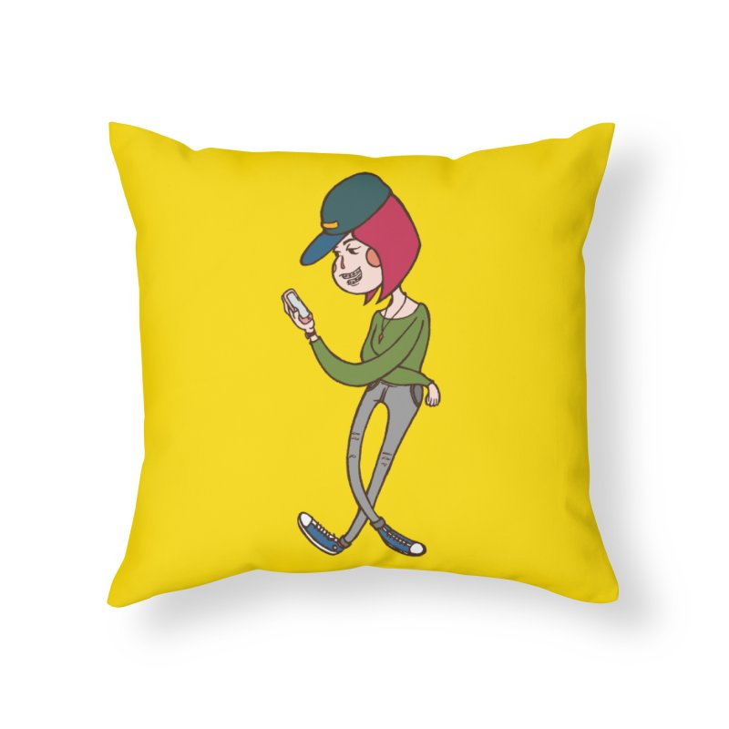 Phone Addiction Home Throw Pillow by The Primate Design