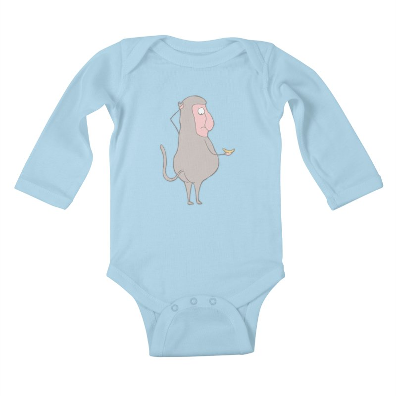 Mr.Probo series: I can't eat banana Kids Baby Longsleeve Bodysuit by The Primate Design
