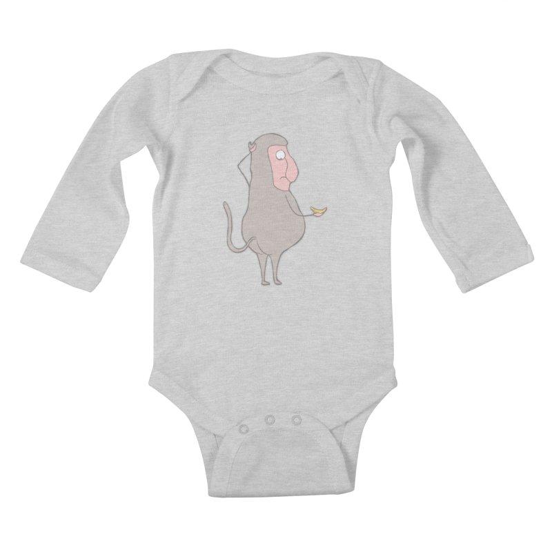 Mr.Probo series: I can't eat banana Kids Baby Longsleeve Bodysuit by The Primate Design