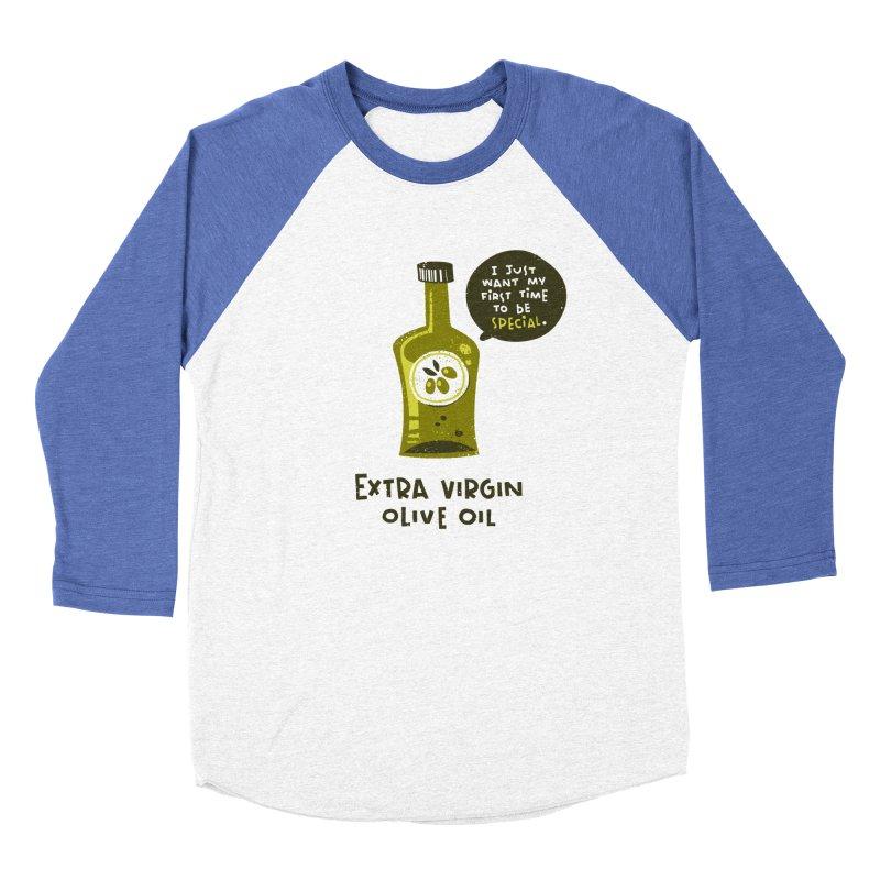 Extra Virgin Men's Baseball Triblend T-Shirt by The Pun Shop