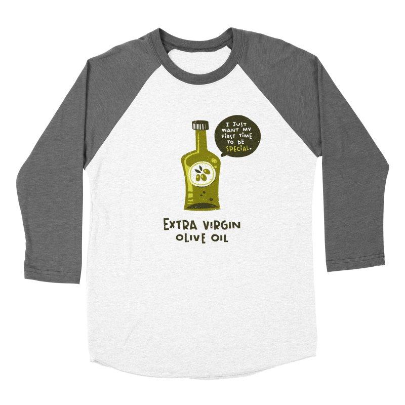 Extra Virgin Men's Baseball Triblend Longsleeve T-Shirt by The Pun Shop