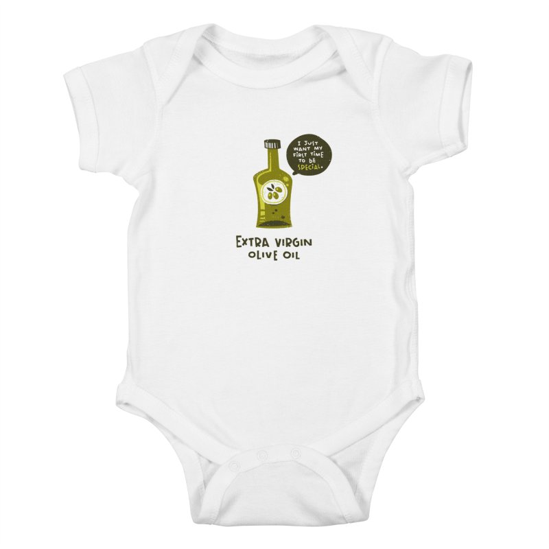 Extra Virgin Kids Baby Bodysuit by The Pun Shop