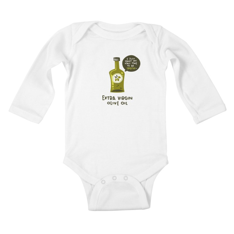 Extra Virgin Kids Baby Longsleeve Bodysuit by The Pun Shop