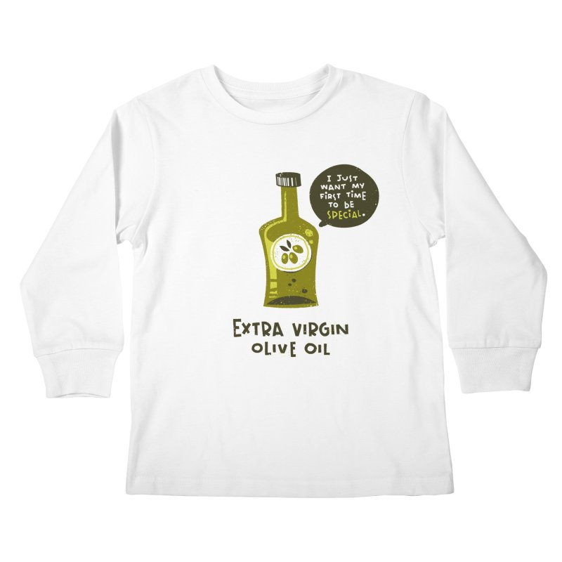 Extra Virgin Kids Longsleeve T-Shirt by The Pun Shop