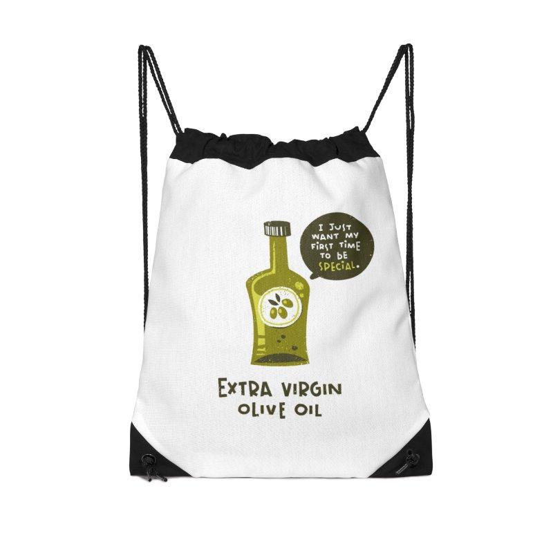 Extra Virgin Accessories Drawstring Bag Bag by The Pun Shop