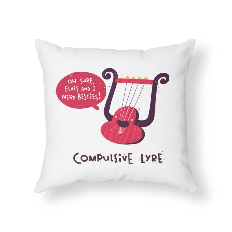 Compulsive Lyre Home Throw Pillow by The Pun Shop