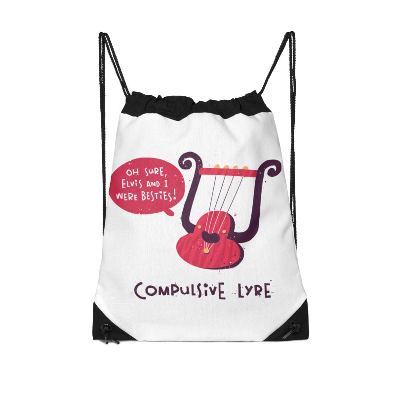 Compulsive Lyre Accessories Drawstring Bag Bag by The Pun Shop