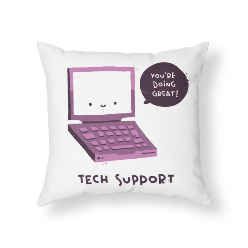 Tech Support Home Throw Pillow by The Pun Shop