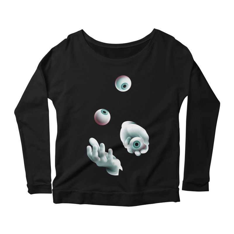 Eyeball Juggler — APPAREL Women's Scoop Neck Longsleeve T-Shirt by The Pure Bluff