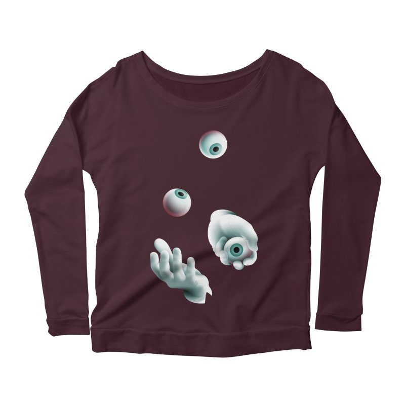 Eyeball Juggler — APPAREL Women's Scoop Neck Longsleeve T-Shirt by The Pure Bluff