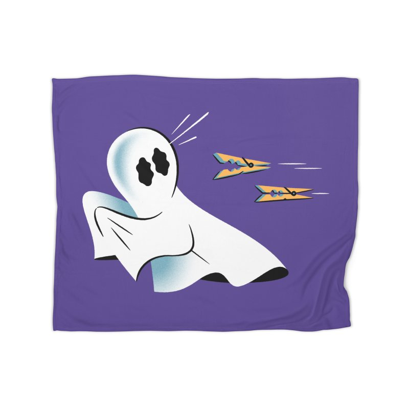 A Fearful Phantom (Purple) Home Fleece Blanket Blanket by The Pure Bluff