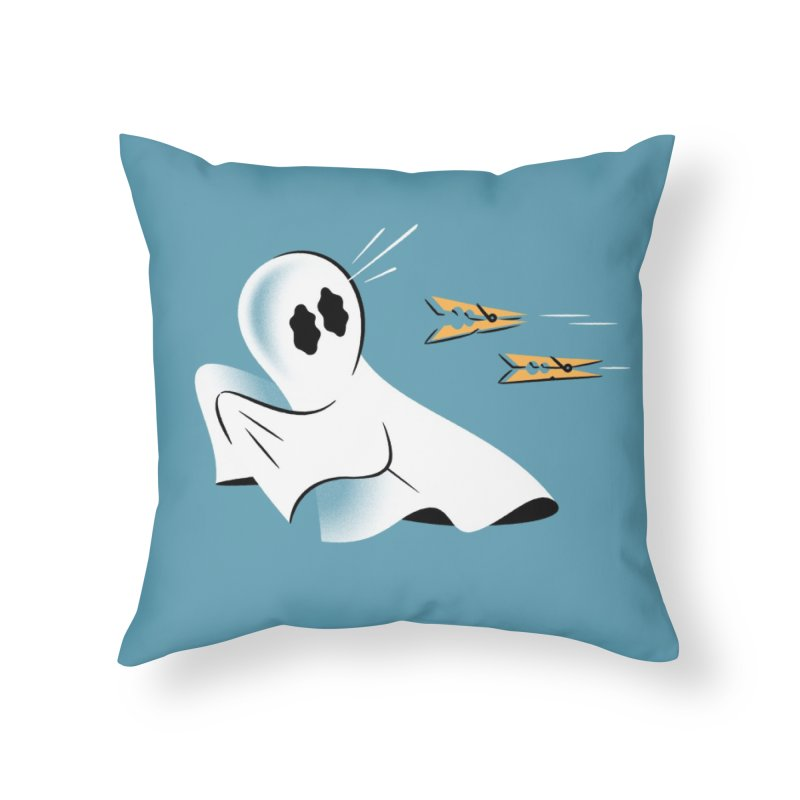 A Fearful Phantom (Teal) Home Throw Pillow by The Pure Bluff