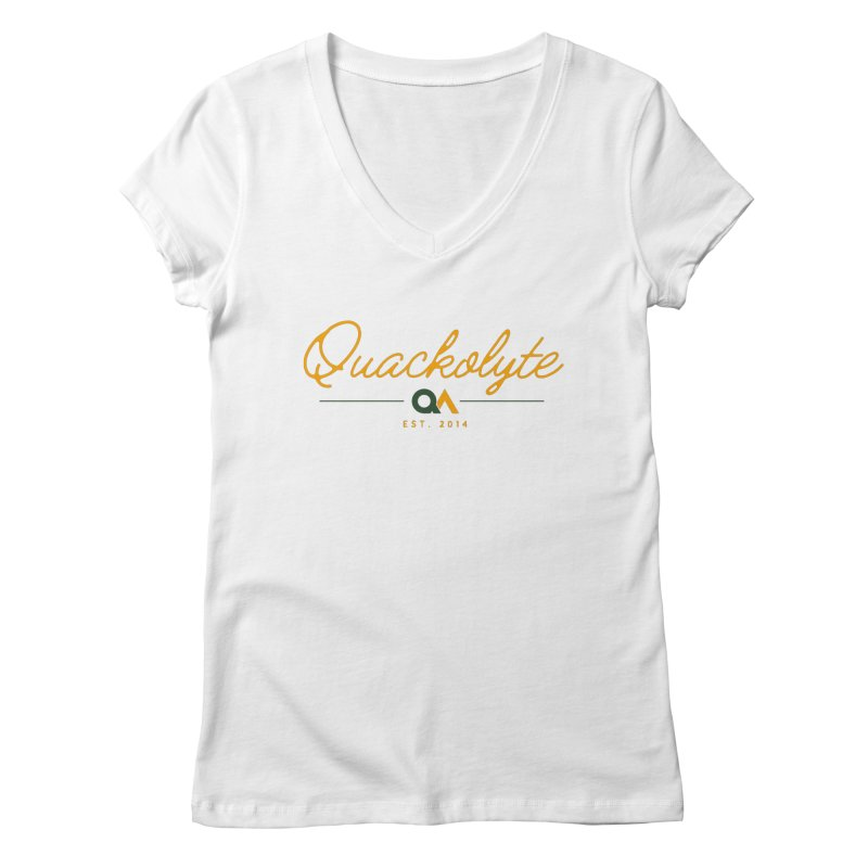 The Quackolyte in Women's Regular V-Neck White by The Quack Attack
