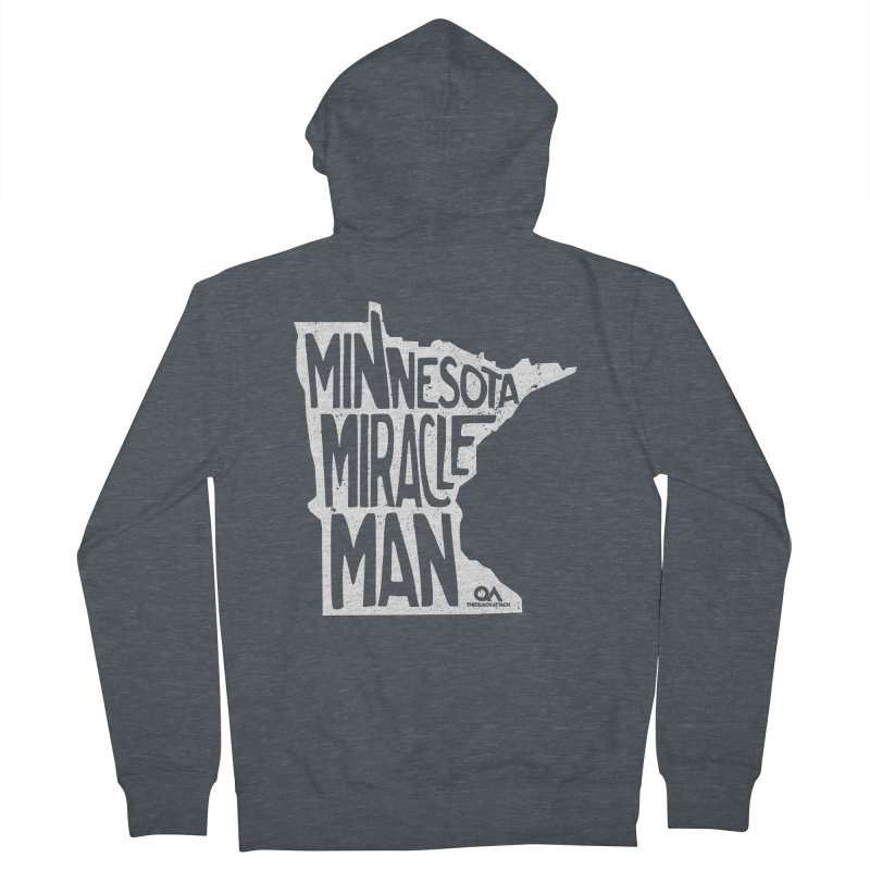 The Minnesota Miracle Man | Dark Men's French Terry Zip-Up Hoody by The Quack Attack