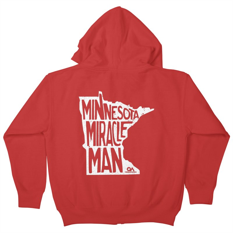 The Minnesota Miracle Man | Dark Kids Zip-Up Hoody by The Quack Attack