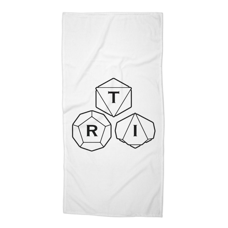 TRI Black Logo Accessories Beach Towel by The Role Initiative's Artist Shop