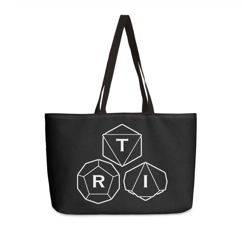 TRI White Logo Accessories Weekender Bag Bag by The Role Initiative's Artist Shop