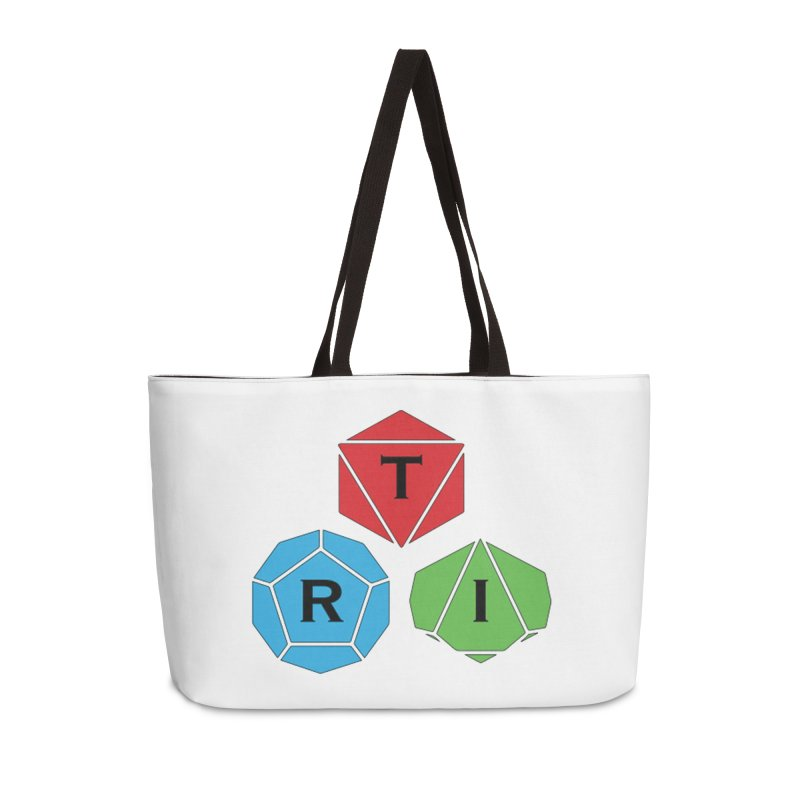 TRI color logo, upper right Accessories Weekender Bag Bag by The Role Initiative's Artist Shop