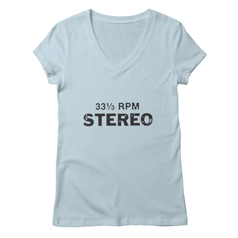33 1/3 STEREO black Women's V-Neck by CRANK. outdoors + music lifestyle clothing