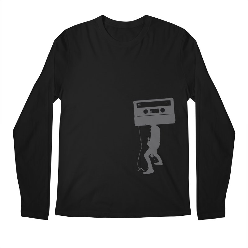 Mr. Cassette Tape Head in Men's Longsleeve T-Shirt Black by CRANK. outdoors + music lifestyle clothing