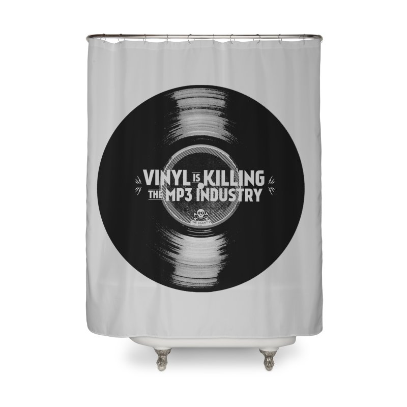 Vinyl is Killing the MP3 Industry (version 1) Home Shower Curtain by CRANK. outdoors + music lifestyle clothing